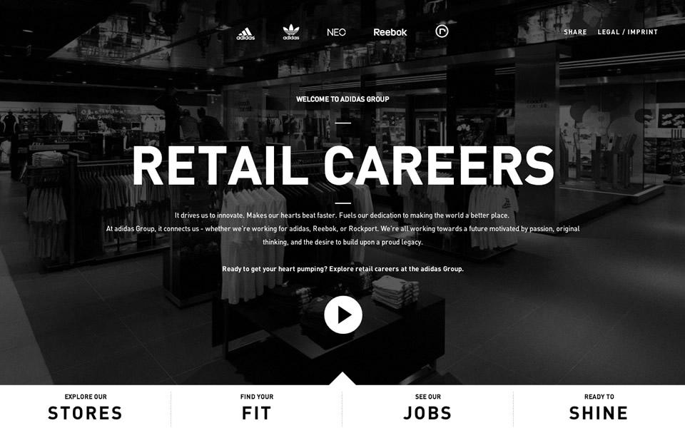proporcionar Melancolía cortar  adidas Group Retail Careers - html inspiration   HTML/CSS Web Design  Inspiration